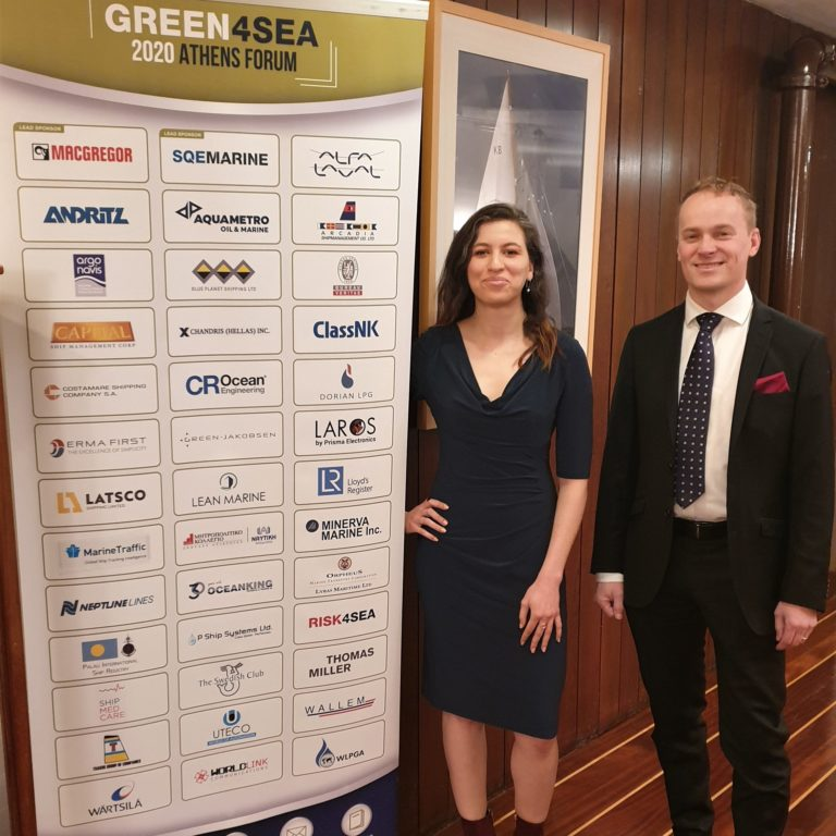 Lean Marine's CEO Mikael Laurin and Business Developer Sarah Zitouni at Green4Sea Award Ceremony
